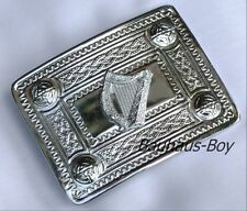 KILT BELT BUCKLE IRISH HARP WITH CELTIC KNOTWORK BORDER HIGHLANDWEAR FOR KILTS