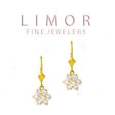 1.30CT Ladies Elegant Leverback Flower Shape White Sapphire Earrings 14K YG