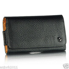 Motorola Droid Razr M HD BLACK LEATHERETTE CASE BELT CLIP HORIZONTAL POUCH LUX4