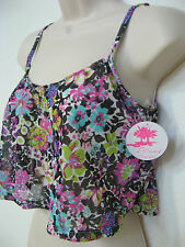 Island Soul NEW Black Desert Bloom Bikini Cover Up Sheer Top Beach Wear LAST ONE