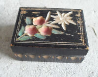 Small Antique Wood Flower Carved Ring Box LOOK