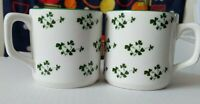 Carrigaline Mug Pottery Cork Ireland Cream mug with  Green Shamrocks