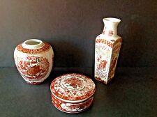 Set 3 Vtg Porcelain Decorative Japan/Japanese 2 Vases & Round Trinket Box W/Lid