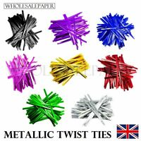 METALLIC TWIST TIES FOR CONE CELLO CELLOPHANE SWEET PARTY GIFT CAKE PLASTIC BAGS