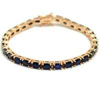 Natural Blue Sapphire Gemstone 14k Rose Gold Plated 925 Silver Tennis Bracelet