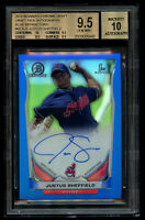 2014 Bowman Chrome Justus Sheffield RC /150 Blue Refractor BGS 9.5 Auto 10 Gem