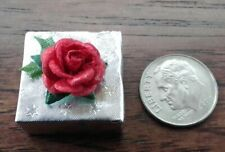 Dollhouse Miniature Handcrafted Christmas Holiday Gift Package Silver Red 1:12