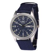AK Army Military Blue Canvas Strap Band Day Date Men's Sport Quartz Watch W085