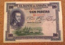 Spanish Banknote. 100 Pesetas. Spain. Dated 1925. Madrid.