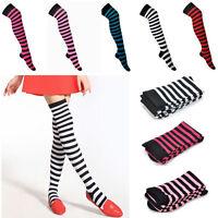 Girl Women Stripe Stripy Striped Over The Knee Thigh High Stockings Long Socks