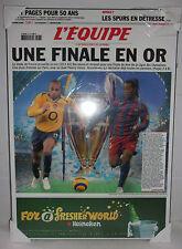 RARE PLAQUE UNE L'EQUIPE PROMO FINALE LIGUE DES CHAMPIONS 2006 ARSENAL BARCELONE