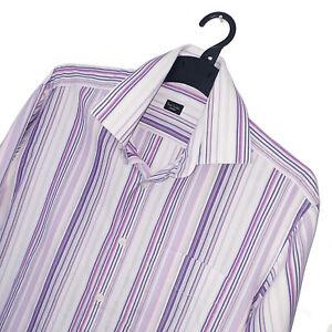 Men's PAUL SMITH Premium MADE IN ITALY Purple Stripe Pattern Shirt Size 16/41 L