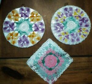 Antique Vintage  (3) Crochet Doily Hot Pad Pot Holder Purple  Pink Wallhanging