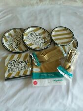 BLACK AND GOLD PARTY PLATES, CUTLERY, TABLECOVER, AND NAPKINS FOR 16 GUESTS