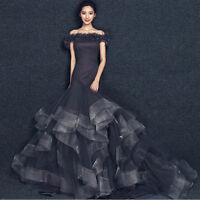 Black Off Shoulder Mermaid Train Wedding Dresses Quinceanera Formal Pageant Gown