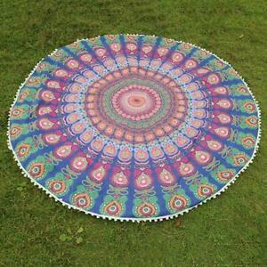"""72"""" ROUND MANDALA TAPESTRY YOGA BEACH MAT TABLE COVER FLORAL HOME DECOR ROUNDIE"""