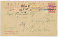 GB 1912 King EVII 1 D OUTWARD PART of postal stationery postcard MANCHESTER