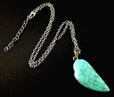 1 Turquoise Angel Wing Gemstone Pendant Necklace with Chain # 509