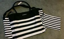 New Victoria Secret Black  Pink Striped Limited Edition Weekender Tote beach bag