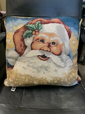 Travis Spencer Decorative Christmas Tapestry Santa Pillow Holiday 16 X 16
