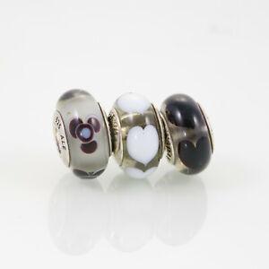 Pandora Lampwork Beads, Lot of Three, Black and White