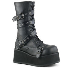 DEMONIA TRASHVILLE 205 Boots Unisex Pleaser Vegan Leather Gothic Black Platform