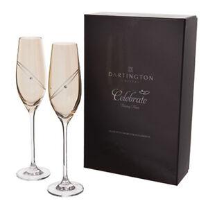 Dartington Crystal Glitz 'Celebrate' Flute Glasses (Gold) (Pair)
