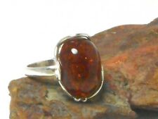Cognac  AMBER  Sterling  Silver  925  Gemstone  RING  -  Size: T