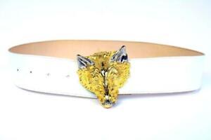 "HARRY ROSENFELD Vintage 70s GOLD WOLF BUCKLE Belt White Leather 31.5"" Adjustable"