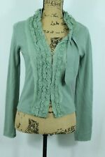 Anthropologie MOTH Cardigan S Moss Green Lace With Bow Vintage Style Sweater