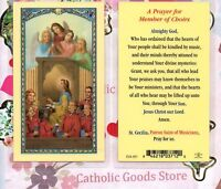 Saint St. Cecilia with a Prayer for Member of Choirs - Laminated Holy Card