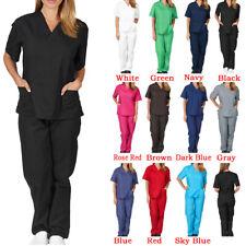 Mens Womens 2 Piece Suit Hospital Medical Doctor Nurse Scrubs Tunic Work Uniform