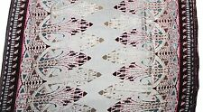 """100% SILK VELVET BURNOUT BLACK AND BURGUNDY FABRIC 45"""" BY THE YARD FREE SHIPPING"""