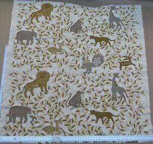 "BY YARD LEE JOFA HAND WOOL CREWEL ""ALMORA LION ELEPHANT SAFARI MSRP$316/Y"