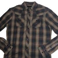 All Saints Shirt Small Plaid Brown Pockets Long Sleeve Pearl Snaps Western Mens