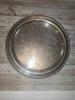 """Vintage ONEIDA USA Silver-Plated Ornate Design 12"""" Round Serving Tray Platter"""