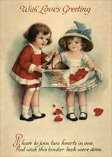 REPRINT PICTURE of old postcard VALENTINE WITH LOVE'S GREETING join hearts 5x7