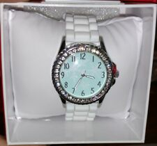 MIXIT Pretty White Silicone Band Light blue Snowflake Womens JCPenney Watch NEW!