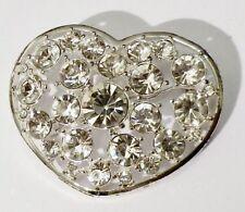 broche bijou rétro vintage couleur argent coeur cristal diamant swarovski *3403