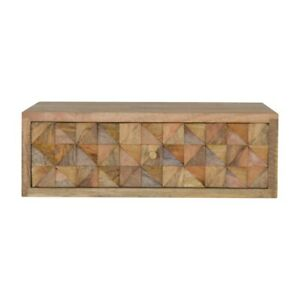 Wall Mounted Diamond Carved Bedside Table