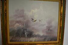 Flying Mallard ducks Original Oil painting artist Felix 28X32-3-D Wood frame A++