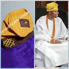 Goldl Nigerian  men-cap for Agbada native wear.  Embroidered  Aso-oke cap size25