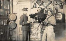 "RPPC Cowboy & Soldier ""Rocky Gulch Saloon"" Bar Photo ca 1910s Vintage Postcard"