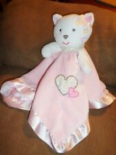 Blanket CAT White Pink Leopard Heart Ruffle plush Carters Baby Security Rattle