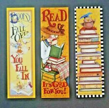 """New ListingMary Engelbreit Bookmarks Lot Of 3 Read It""""S Good For You, Owl, Books Fall Open"""