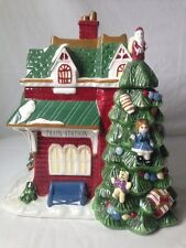 Spode Train Station Cookie Jar Christmas Tree Village 2002