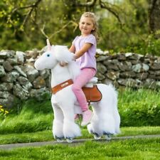 Kids PonyCycle Ride On White Unicorn with Brake Ride On Toy Outdoor-Indoor
