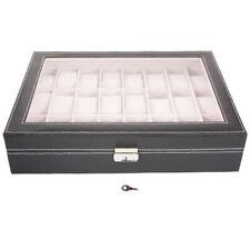 24 Slot Watch Box Leather Display Case Organizer Glass Jewelry Storage Black