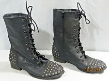 Rue 21 Etc! Woman's Combat Spikes Faux Leather Goth Grunge Punk Style 7/8 M