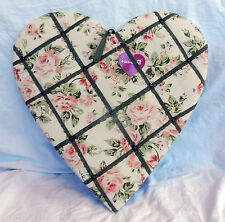 Country Rose Heart Fabric Covered Memo / Message / Display Board - BNWT